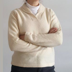 1990's Merino-Angora Blend Knit Shawl Neck Jumper